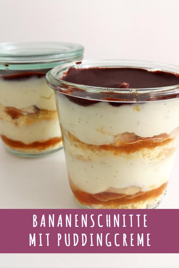 Rezept Bananenschnitte im Glas mit Pudding